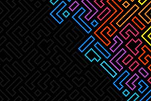 Minimalistic Shapes Dark Neon 4k Wallpaper