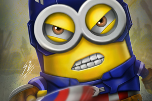 Minion As Captain America 4k Wallpaper