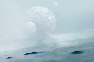Mist Space Planets Wallpaper