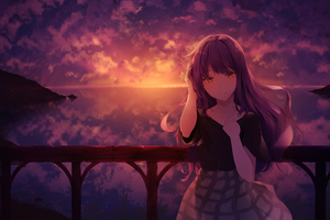Mocca Sunset Anime Girl 4k