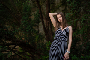 Model In Zebra Lines Dress 8k Wallpaper