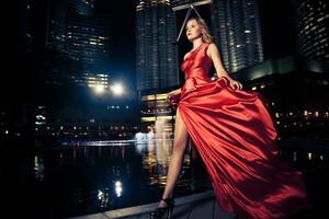 Model Red Dress Outdoors Depth Of Field 5k Wallpaper