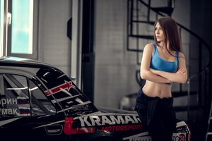 Model With Car