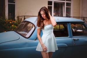 Model With Classic Car Wallpaper