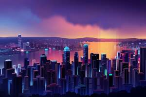 Modern City At Dusk Buildings Lights 4k Wallpaper