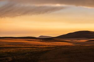 Montana Prairie Montana Plain Evening Light Fuji Color Montana Sunset