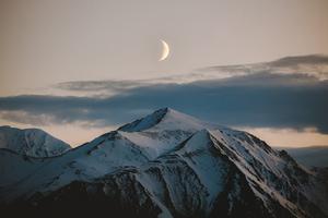Moon Above Mountains Winter 4k