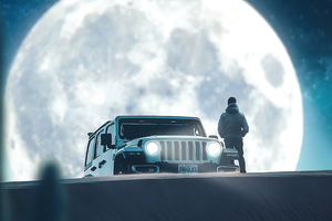 Moon And Jeep Wallpaper