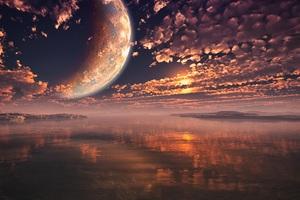 Moon Clouds Sunset Landscape 5k Wallpaper