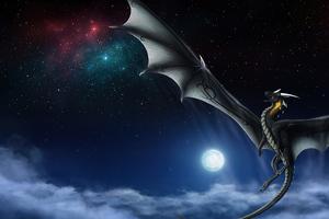 Moon Dragon Night 4k Wallpaper