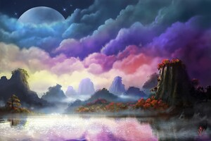 Moon Fantasy Sky Landscape Wallpaper