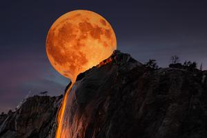 Moon Horsetail Falls Yosemite National Park 5k Wallpaper