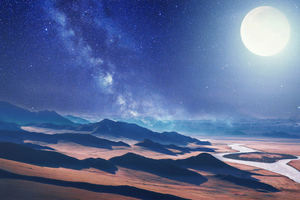 Moon Night Desert 4k