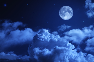 Moon Night Sky Clouds 5k