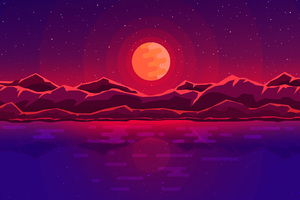 Moon Rays Red Space Sky Abstract Mountains Wallpaper