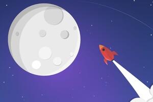 Moon Rocket Minimalism Wallpaper