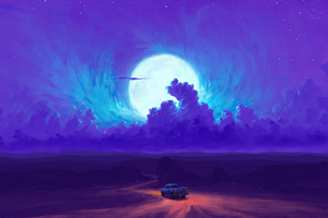 Moonrise Minimal 4k Wallpaper