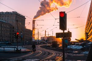 Morning City Traffic Lights Smoke Train Industry Chimney Wallpaper