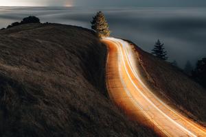 Morning Road Lights Long Exposure 4k Wallpaper