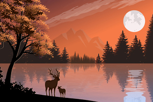 Mother And Baby Reindeer Illustration Wallpaper