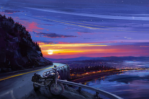Motorcyle Digital Art Sunset Artwork