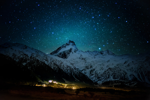 Mount Cook Village Under The Winter Stars 8k Wallpaper