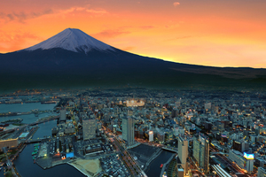 Mount Fuji Snowy Peak Japan Sunset City