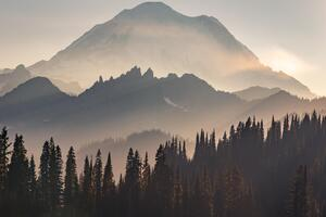 Mount Rainier Sun Beams 5k Wallpaper