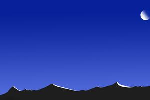 Mountain At Night With Moon Minimal 8k Wallpaper