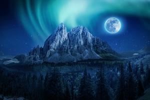 Mountain Aurora Moon Night Northern Lights 4k Wallpaper