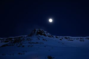 Mountain Covered With Snow Moon 4k Wallpaper