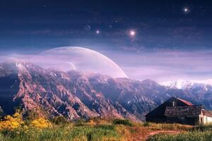 Mountain House Fantasy Wallpaper