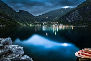 Mountain Lake Beautiful Night Wallpaper