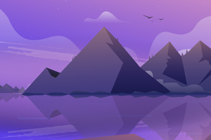 Mountain Landscape Illustration Wallpaper