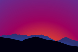 Mountain Landscape Sunset Minimalist 15k