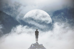 Mountain Man Standing On Rock Manipulation Photography