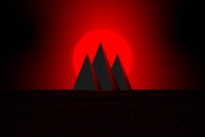 Mountain Red Minimal 4k Wallpaper
