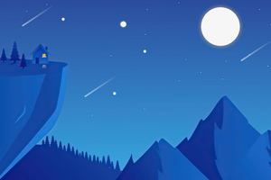 Mountain Space Shooting Stars Minimal 4k Wallpaper