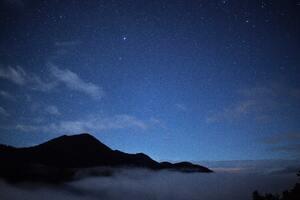 Mountains Clouds During Night 5k Wallpaper