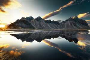 Mountains Clouds Lake Reflection Sun Sky