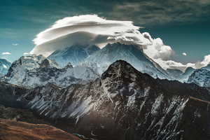Mountains Covered In Snow Clouds 4k Wallpaper