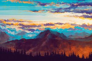 Mountains Landscape Nature Digital Art
