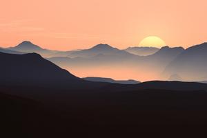 Mountains Landscape Sunset 5k