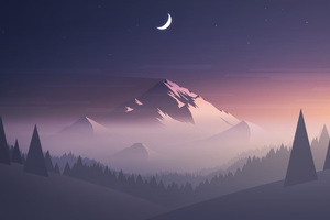 Mountains Moon Trees Minimalism Wallpaper