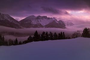 Mountains Peaks Fog Morning 4k Wallpaper