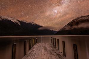 Mountains Relfection Night Stars 4k Wallpaper