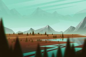 Mountains Sky Landscape Minimal 4k Wallpaper