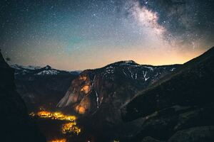 Mountains Sky Stars 5k Wallpaper