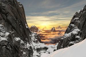 Mountains Snow High Clouds 5k Wallpaper