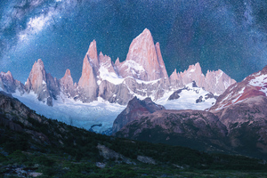 Mountains Snow Stars Galaxy 4k Wallpaper